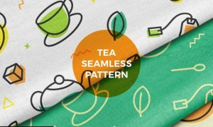 Tea Leaf Pot Cup Seamless Pattern EG67XVQ