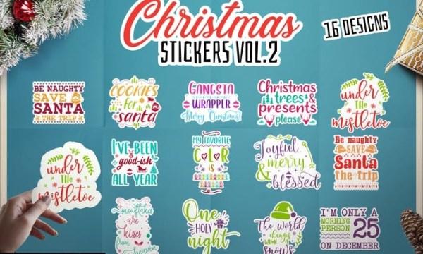 Christmas Stickers Bundle Vector Clip Art. Vol 2 QZBEUYV