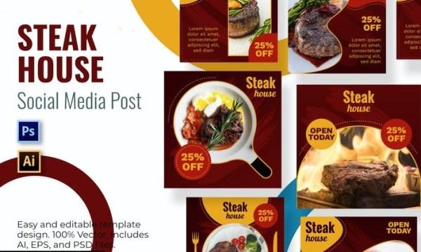 Steak Social Media Template MW8H24Z
