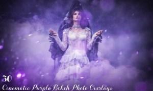 30 Cinematic Purple Bokeh Photo Overlays
