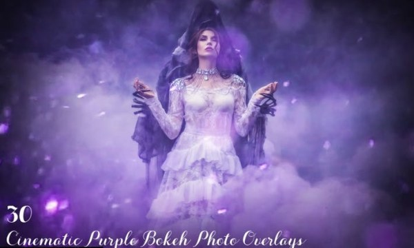 30 Cinematic Purple Bokeh Photo Overlays