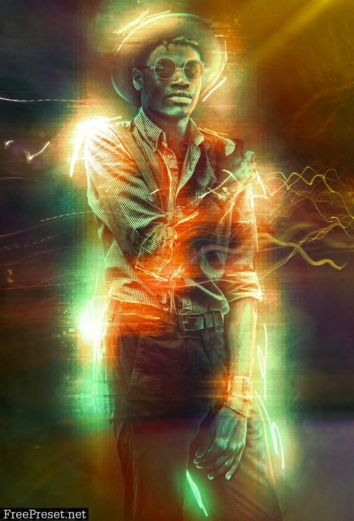 Neon Glitch Photo Effect DPWJEAF