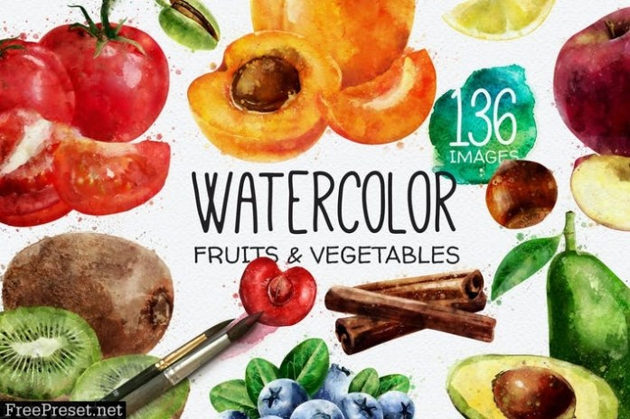 136 Watercolor Fruits And Vegetables JAZQSS