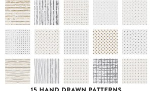 15 Hand Drawn Gold & Silver Patterns 2NB7G8