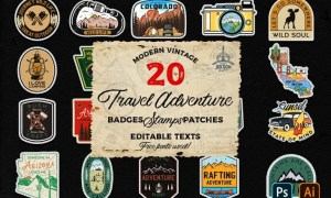 20 Camp Adventure Badges Vintage Travel Patch SVG