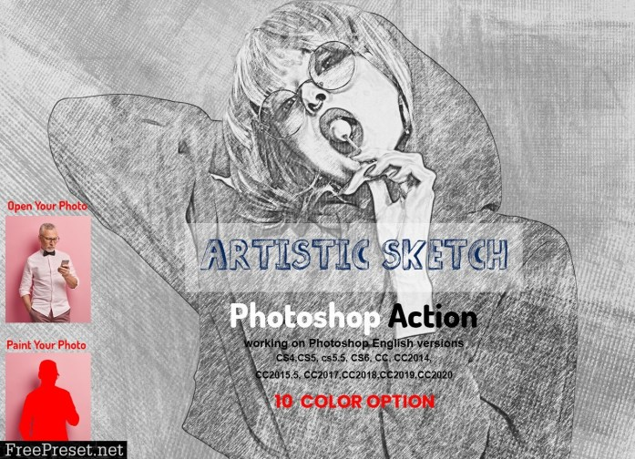 Artistic Sketch Photoshop Action 5925157