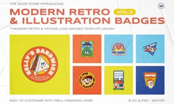 Modern Retro Illustration Badges Vol.2 CKKTTNF