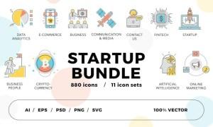 Startup Bundle 800+ Icons 64XYHD