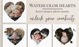 Watercolor hearts photo masks 5804185