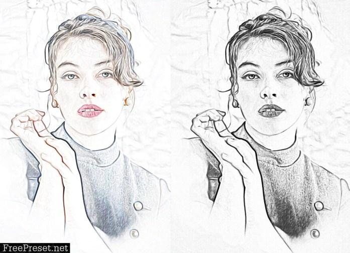 Oil Sketch Portrait Photoshop Action 5912606