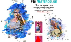 Pen Watercolor Photoshop Action 5877779