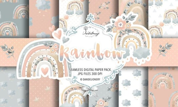 Rainbow baby girl digital paper pack 9F32ZMR