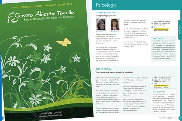 Catálogo de primavera-verano del Centro Abierto Tomillo