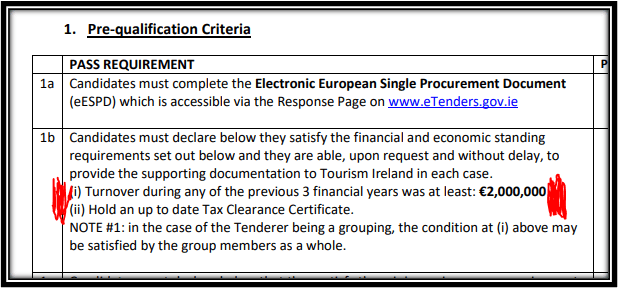 turnover requirement - Covid 19 Research program tender for tourism ireland cvd20-008