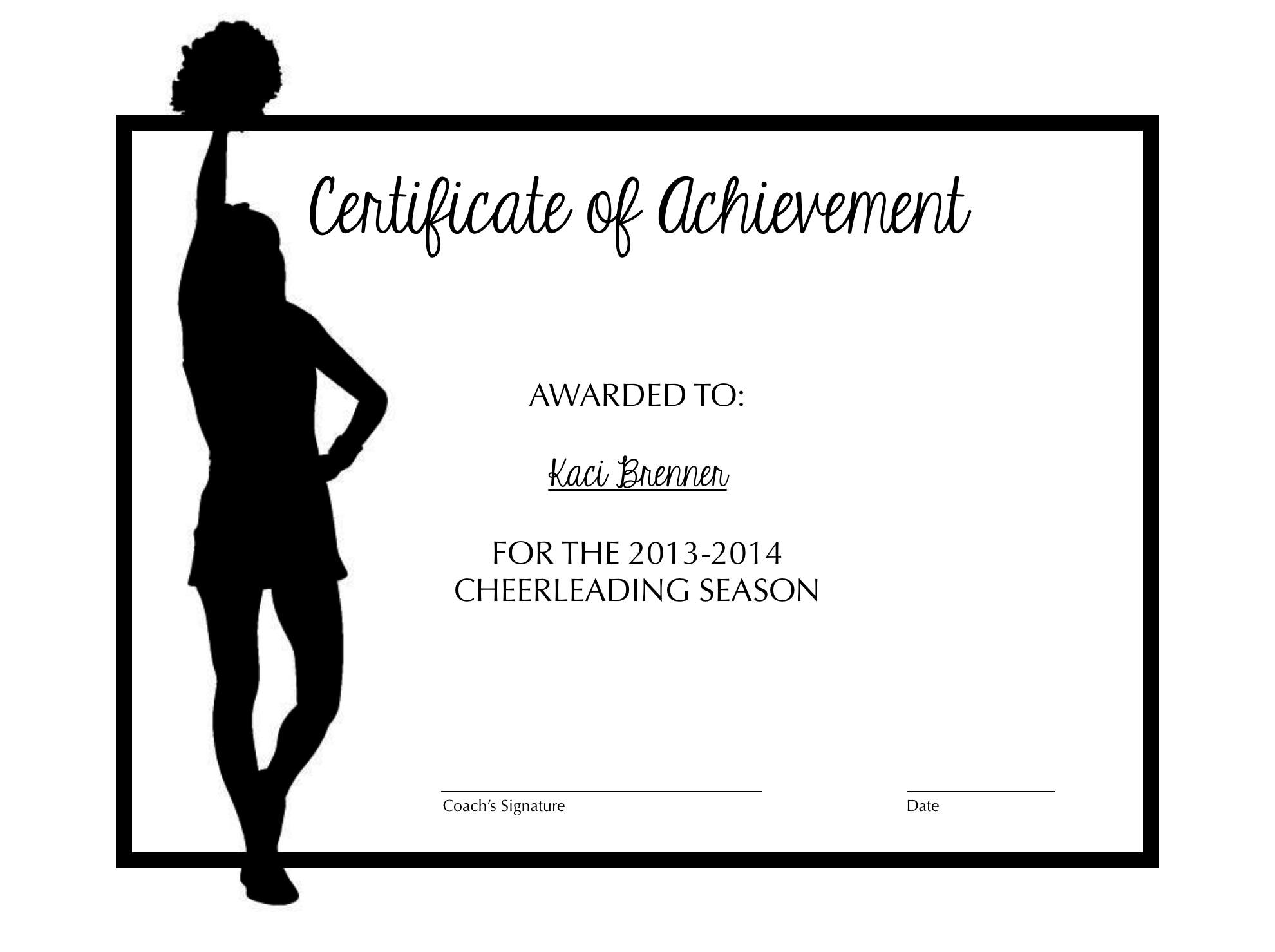 Cheerleading Certificate Of Achievement