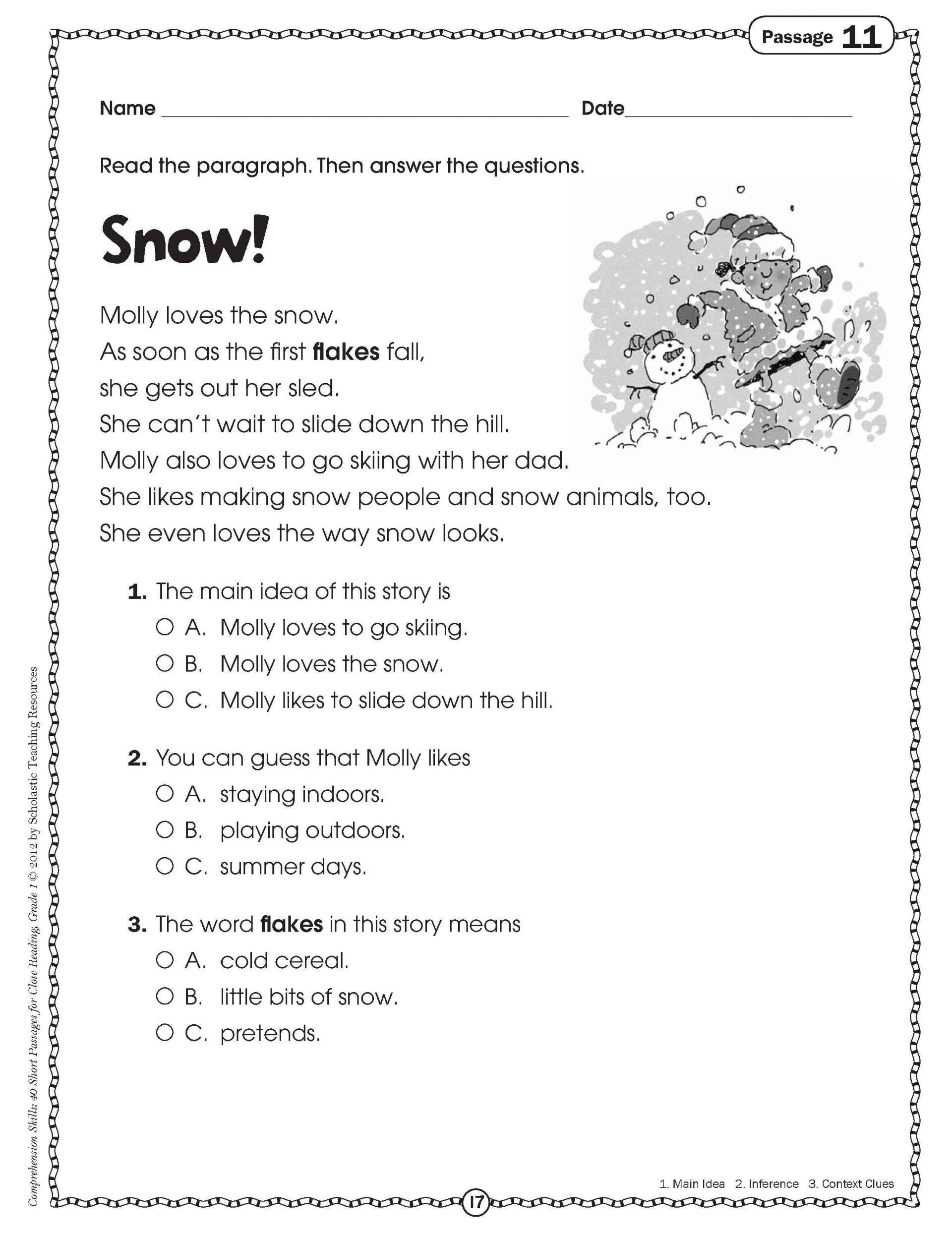Printable 12th Grade Reading Comprehension Worksheet