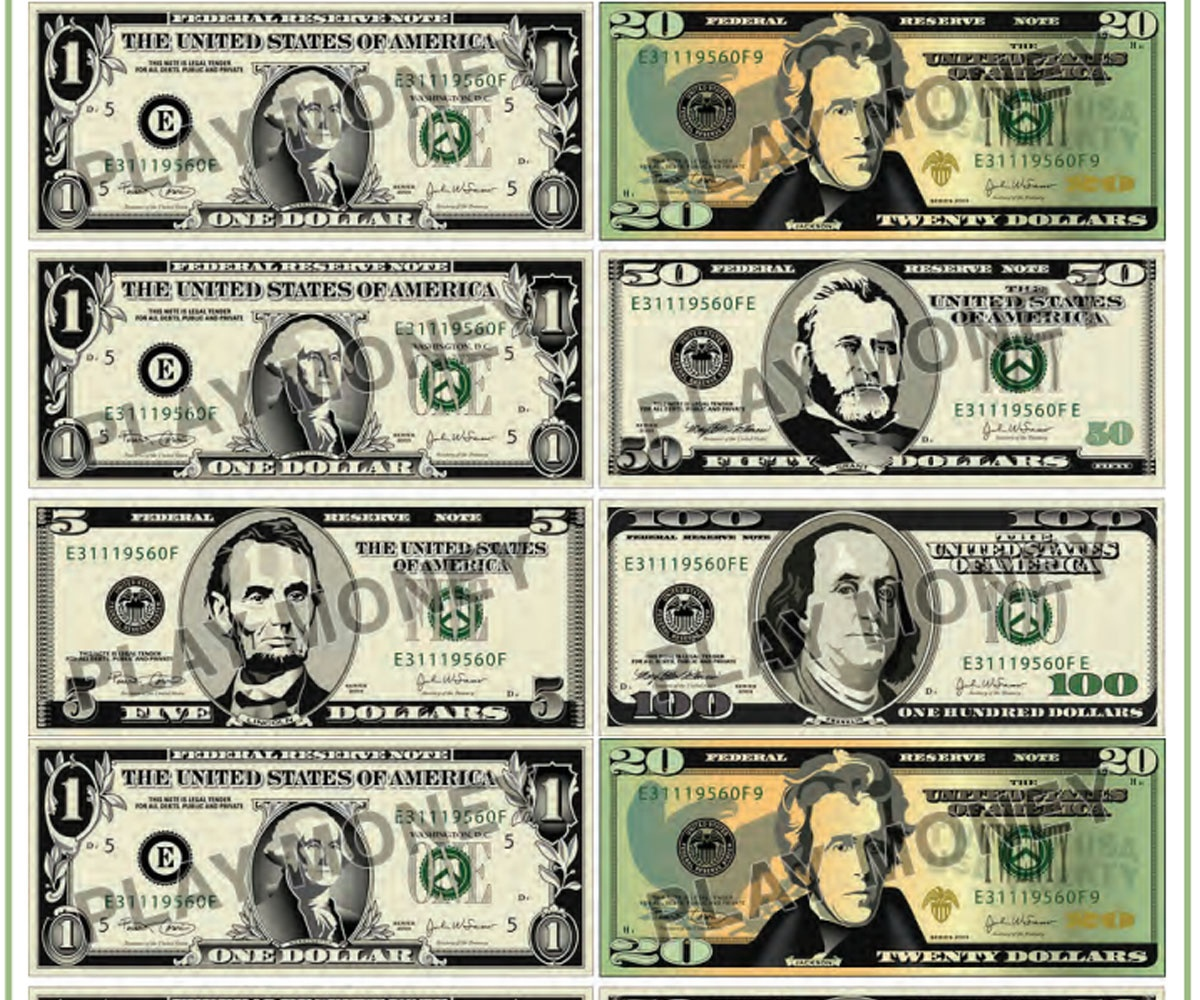 Printable Dollar Bills