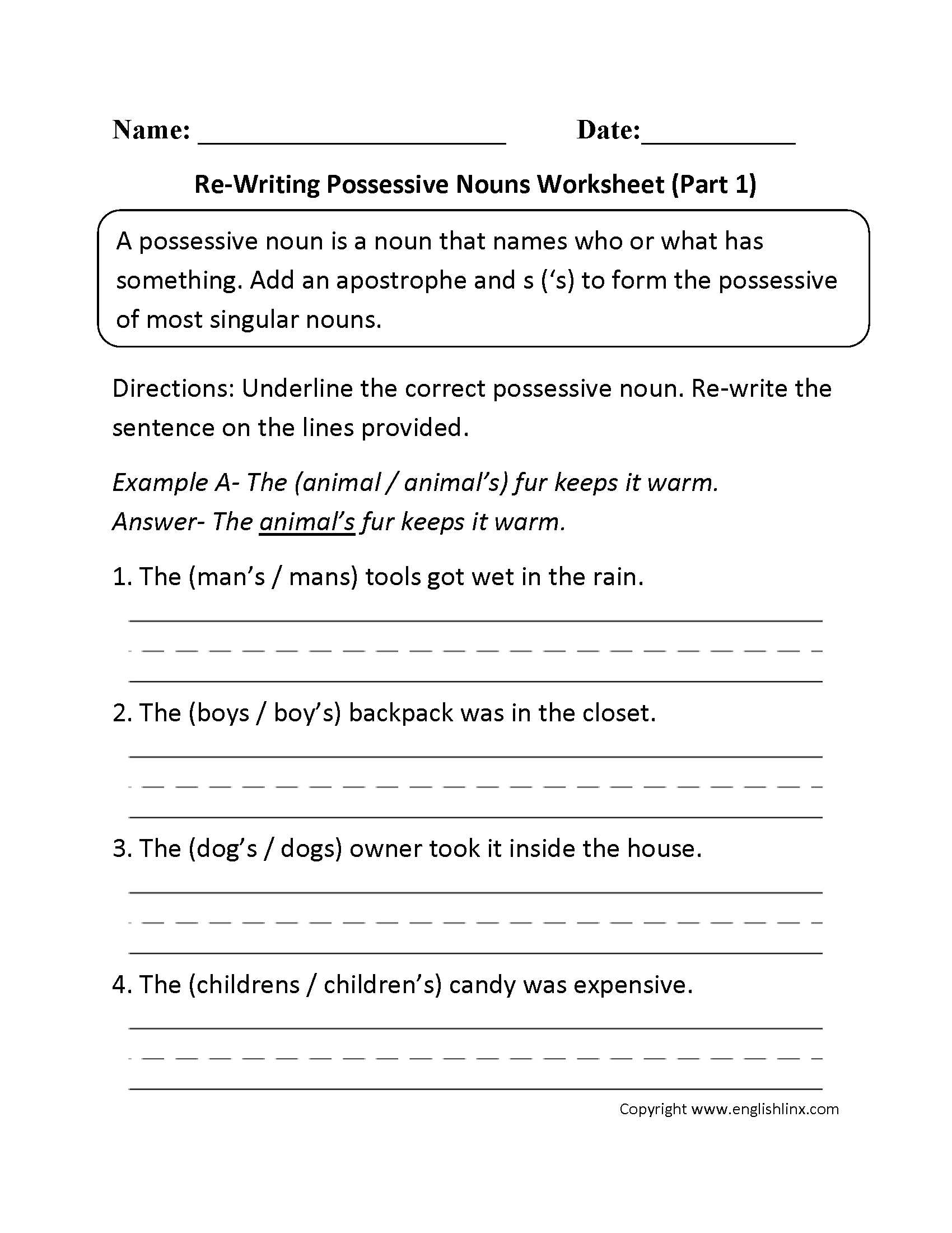 Possessive Nouns Worksheet Singular And Plural Nouns