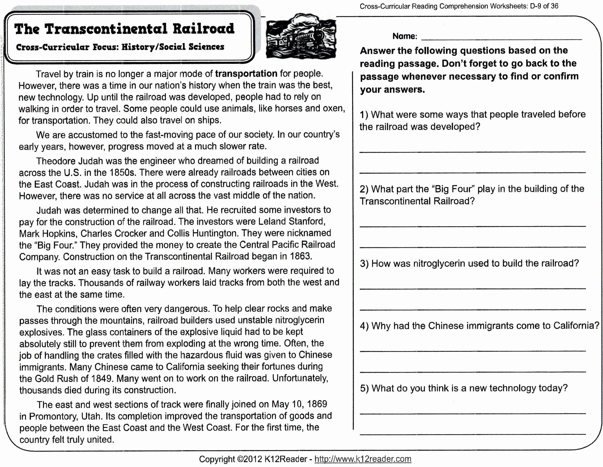 Free Printable Worksheets Reading Comprehension 5th Grade
