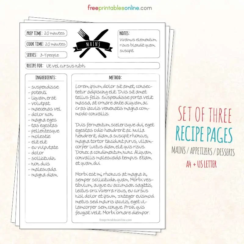 Page Full Templates Recipe Vintage