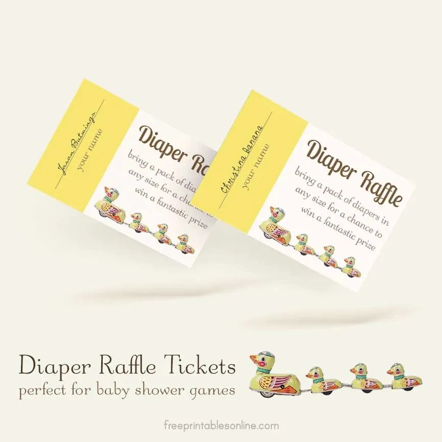 Diaper Ticket Raffle Printable Ducky