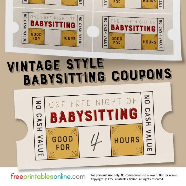 babysitting coupon - free download