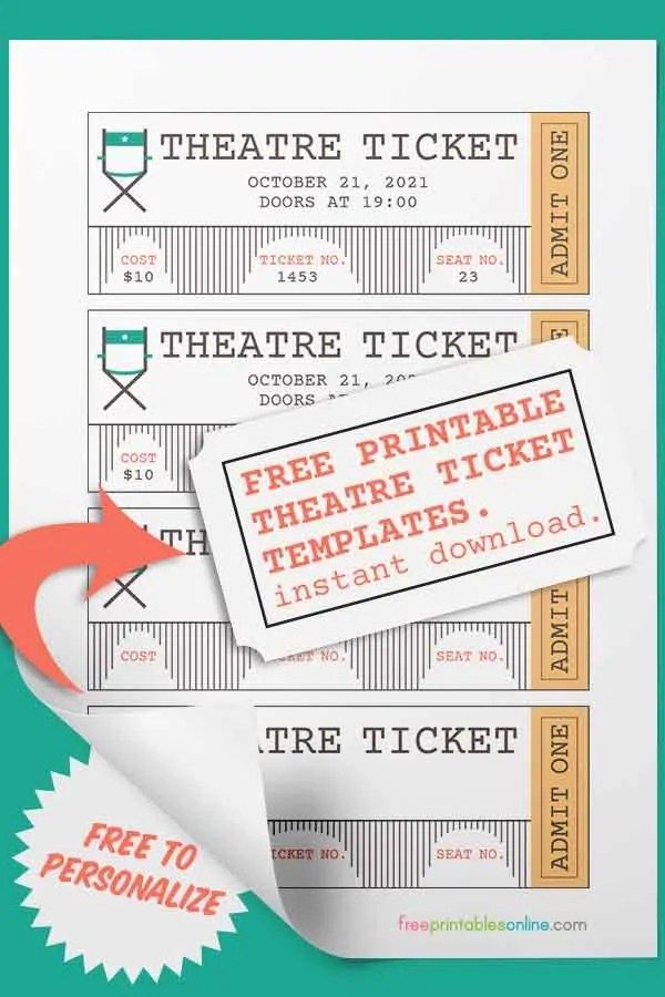 Free Theatre Ticket Template Free Printables Online