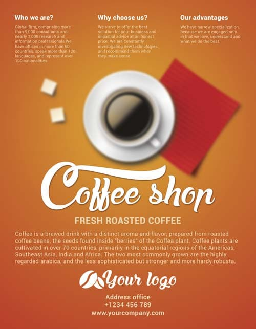 Download Free Coffee Shop Flyer PSD Template For Photoshop