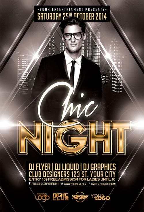 FreePSDFlyer   Download The Free Chic Night Free Flyer Template Free Chic Night Free Flyer Template