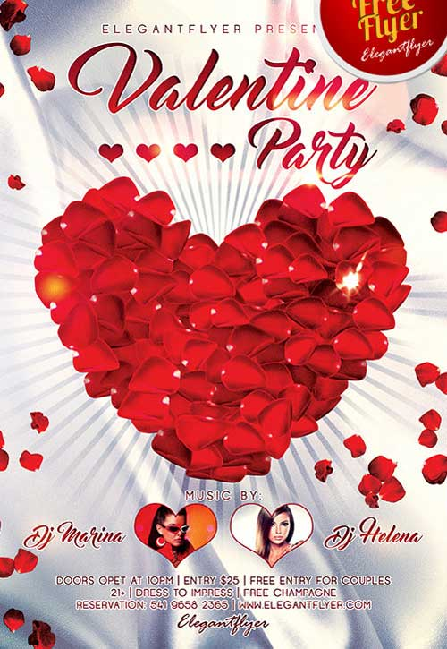 Download Free Valentines Day Party PSD Flyer Template For
