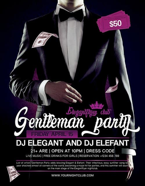 Download Gentleman Party Free PSD Flyer Template