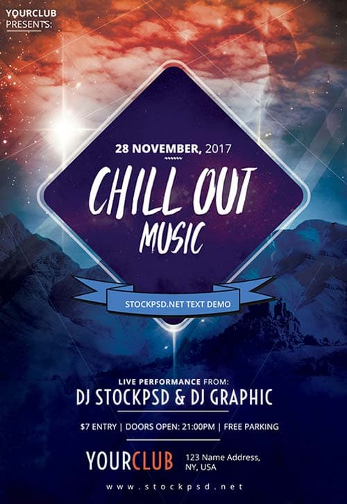 Chillout Music Party Free Flyer Template Download For Photoshop