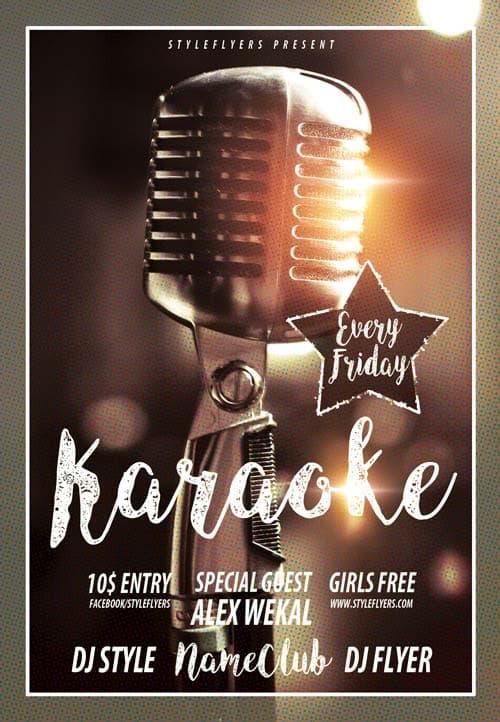Retro Karaoke Free Flyer Template Download Flyer Templates