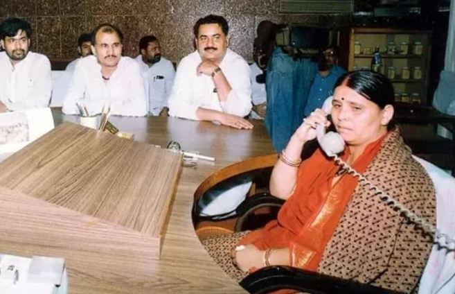 An old picture of Rabri Devi as the CM of Bihar at CM office in Patna