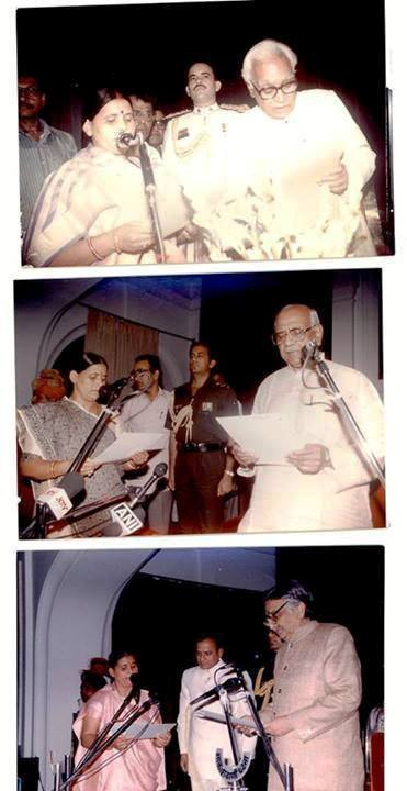 A hierarchical narrative collage of three pictures from rabri Devi's swearing-in ceremonies as the CM of Bihar