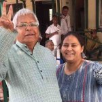 Misa Bharti with Lalu Prasad Yadav