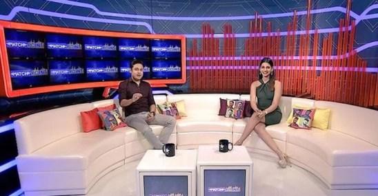 Anant Tyagi hosting a sports show with co-host Sanjana Ganesan