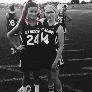 Jenna Clause wearing the Six Nation's Lacrosse jersey