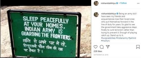 Nishant's post against Terrorism