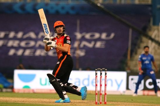 Abdul Samad whacks a ball over the boundary rope on his debut IPL match