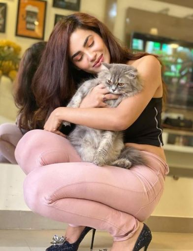 Sakshi Dwivedi with her pet cat