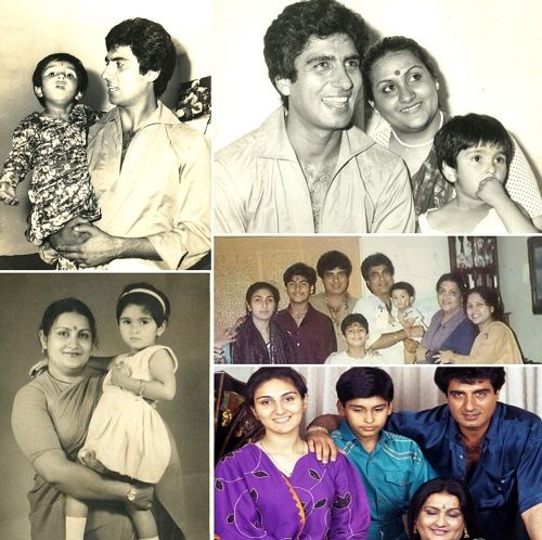 A collage of old pictures of Raj Babbar with his family