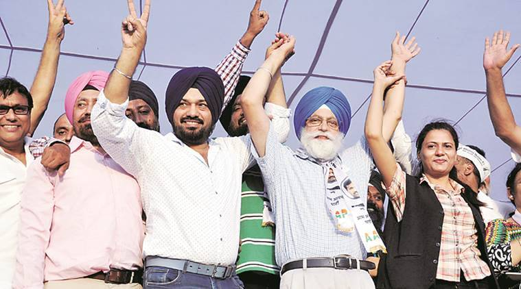 Ghuggi during a political rally in Amritsar after becoming the Convenor of Aam Aadmi Party's Punjab Unit on 4 September 2016