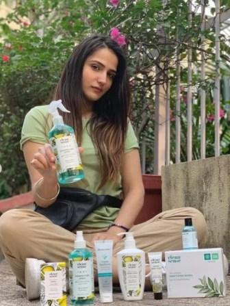 Riya Kishanchandani endorsing Clean Sense beauty products