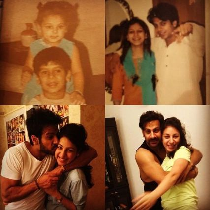 A collage of Karan Veer Mehra with his sister