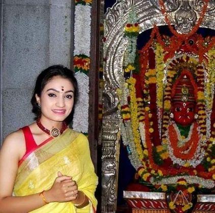 Vaishnavi Gowda in a temple