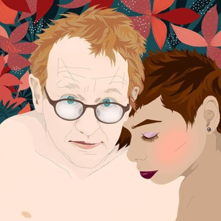 The illustration of herself with Peter Madsen made by Jenny Curpen