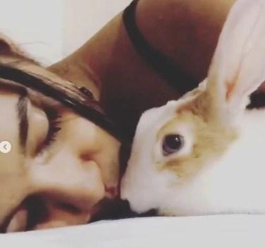 Samruddhi Jadhav with her pet, Bunny