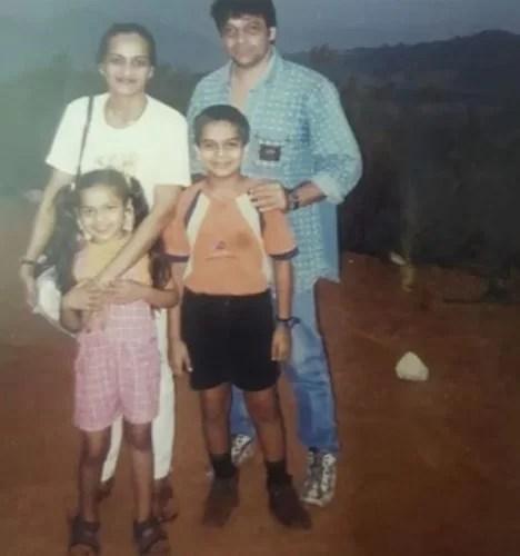 Sameer Rajda with his wife and children