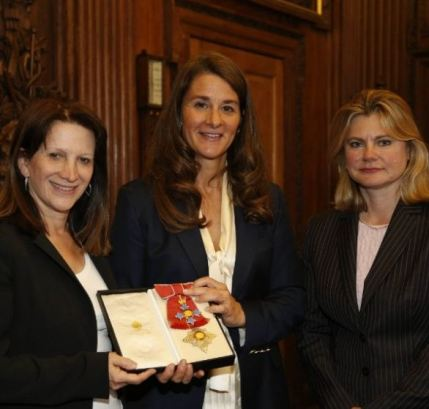 Melinda Gates being honoured as the Dame of the British Empire
